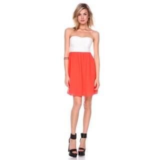 Stanzino Women's Two-tone Sweetheart Chiffon Mini Dress