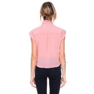 Stanzino Women's Sleeveless Chiffon Cropped Top