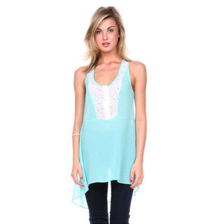 Stanzino Women's Colorblock Studded Chiffon Tank Top