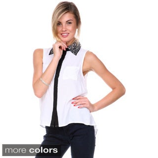 Stanzino Women's Sleeveless Button Down Embellished Collar Shirt
