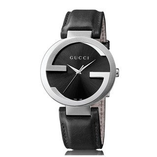 Link to Gucci Men's YA133205 Interlocking G Black Leather Watch Similar Items in Men's Watches