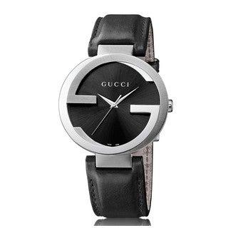 Gucci Men's YA133205 Interlocking G Black Leather Watch