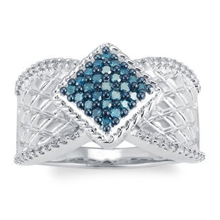 Sterling Silver 1/2 cttw Blue and White Diamond Square Ring