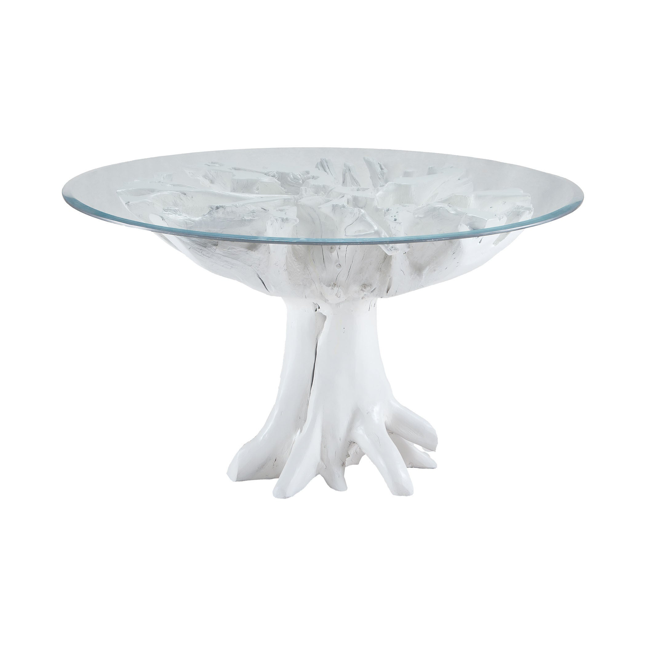 LS Dimond Home White Teak Root Entry Table (Gloss White)