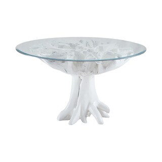 LS Dimond Home White Teak Root Entry Table