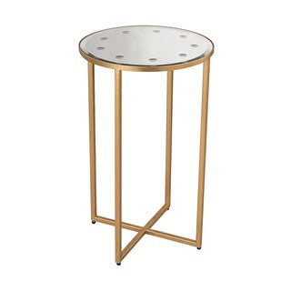 LS Dimond Home Cross Base Mirror Top Side Table
