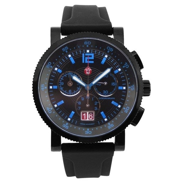 6af4d920b Shop Michele Women's MWW01K000037 'Large Sail Techno' Chronograph Diamond  Black Silicone Watch - Free Shipping Today - Overstock - 10338652