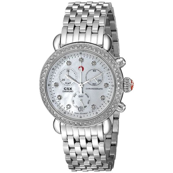 35221e66ff68b Shop Michele Women s  CSX-36  Chronograph Diamond Stainless Steel Watch -  Free Shipping Today - Overstock - 10338654