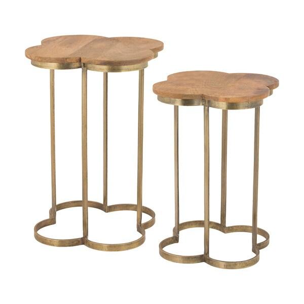 Superieur LS Dimond Home Gold Leaf Quatrefoil Accent Table