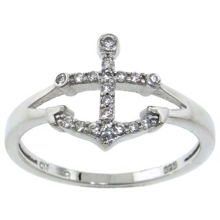 Eternally Haute Sterling Silver Pave Cubic ZIrconia Anchor Ring