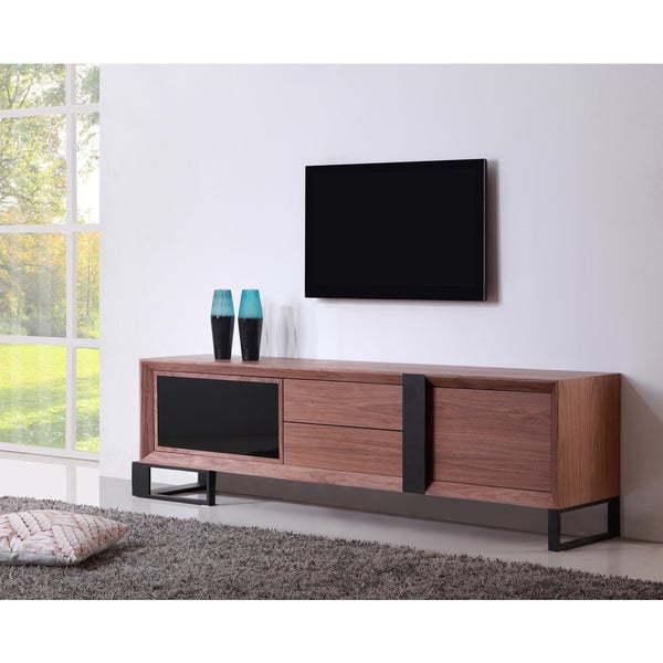 B Modern Entertainer Light Walnut Black Modern Ir Tv
