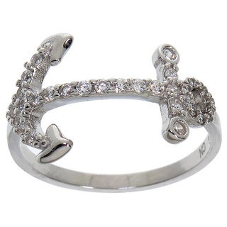 Eternally Haute Sterling Silver Cubic Zirconia Side Anchor Ring