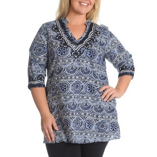 La Cera Women's Plus Size Printed Embroidery Detail Tunic