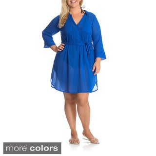 La Cera Women's Plus Size Self Belted Shirt Dress