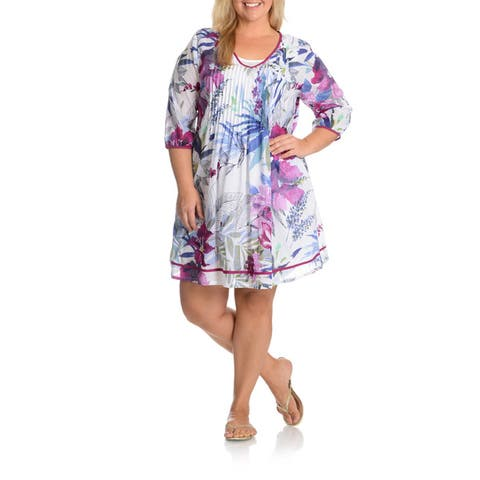 La Cera Women's Plus Size Printed Tunic Dress with Slip
