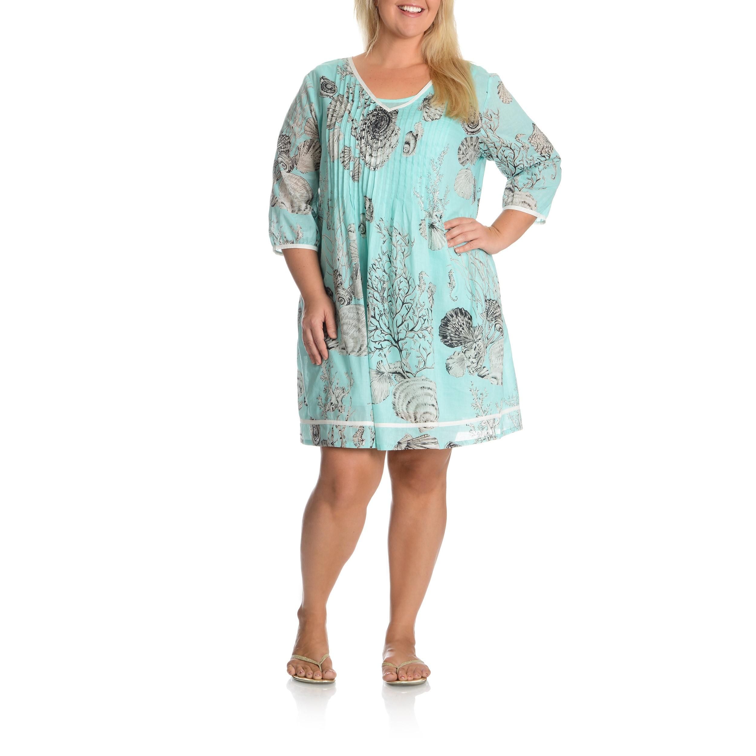La Cera Women\'s Plus Size Printed Tunic Dress