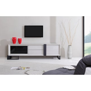 B-Modern Entertainer Cream/ Black Modern IR TV Stand
