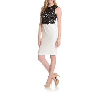 Joanna Chen New York Women's Lace Bodice Overlay Sheath Dress