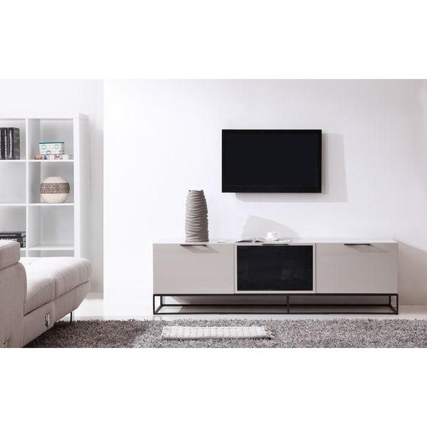 B-Modern Animator High-Gloss Cream/ Black Modern IR TV Stand