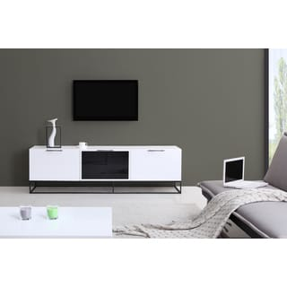 B-Modern Animator High-Gloss White/ Black Modern IR TV Stand