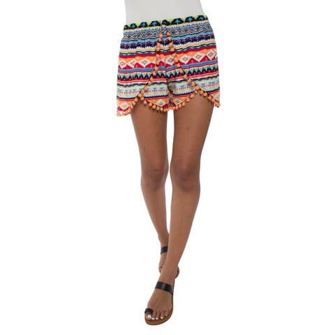 White Mark Women's Printed Pom Pom Shorts