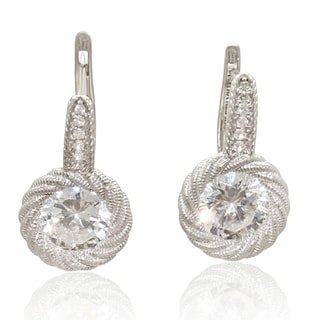 14k White Gold Swirled Leverback Earrings