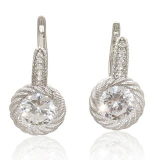 14k White Gold Swirled Leverback Earrings