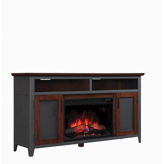 Landis 26-inch Classic Flame Indoor Fireplace Media Mantel in Old World Brown