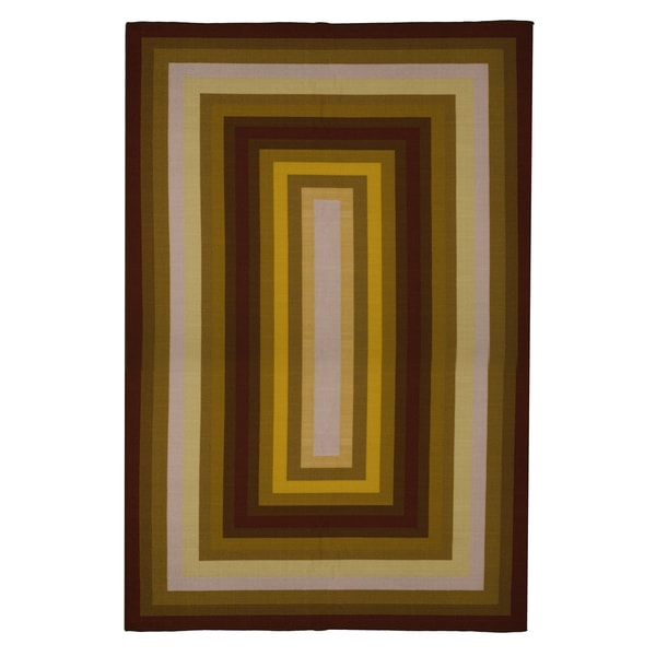 Contemporary Gold Rust Brown Red Stripe Area Rug 5 X