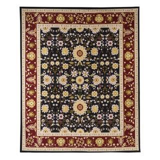Oriental Floral Burgundy, Black Stain-resistant Area Rug (5' x 8')