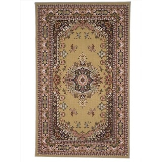 Oriental Floral Camel, Tan, Red Stain-resistant Area Rug (5' x 8')