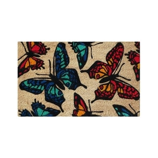 First Impression PVC Tufted 'Butterflies' Coco Mat (1'6 x 2'6)