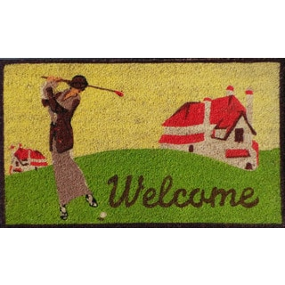 First Impression Golf Coco PVC Tufted 'Welcome' Mat