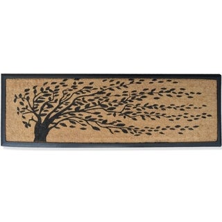 Rubber and Coir Molded 'Falling Leaves' Double Door Mat (1'4 x 4')