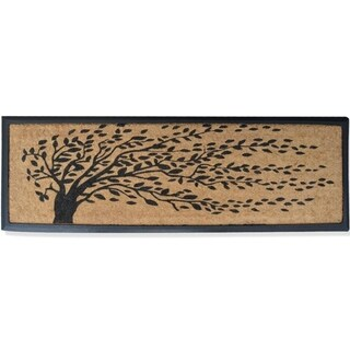 "Rubber and Coir Molded 'Falling Leaves' Double Door Mat - 16"" X 48"""