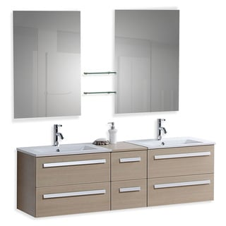 Beliani Modern Madrid Beige Bathroom Vanity with Sink, Cabinets and Mirrors