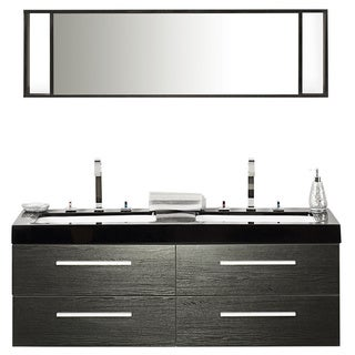 Beliani Modern Malaga Bathroom Vanity with Sink, Cabinets and Mirrors