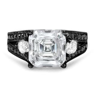 Noori 14k Black Gold 1ct TDW Black Diamond and Asscher-cut Moissanite Ring (G-H, SI1-SI2)