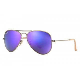 Ray-Ban Aviator RB3025 Bronze-Copper Frame Violet Mirror Flash Lenses Sunglasses