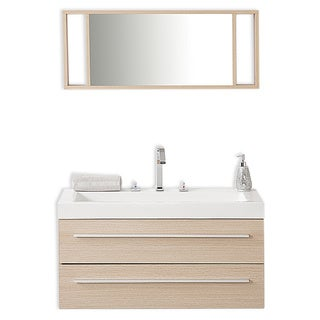 Beliani Modern Barcelon Beige Bathroom Vanity with Sink, Cabinets and Mirror