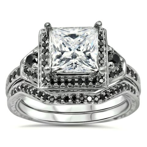 Noori 14k White Gold 2/5ct TDW Black Diamond and Moissanite Engagement Ring Set