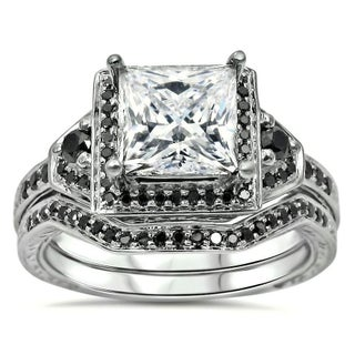 Noori 14k White Gold 2/5ct TDW Black Diamond and Moissanite Engagement Ring Set (More options available)