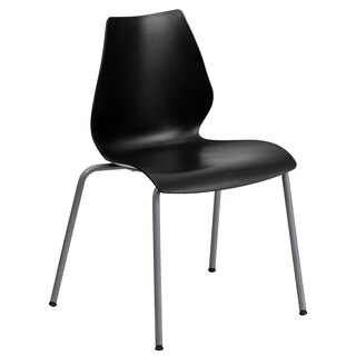 Iris Black Contoured Modern Design Stack Chairs