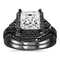Noori 14k Black Gold 2/5ct TDW Black Diamond and Moissanite Engagement Ring Set