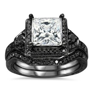 Noori 14k Black Gold 2/5ct TDW Black Diamond and Moissanite Engagement Ring Set