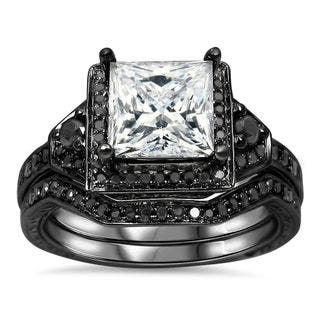 noori 14k black gold 25ct tdw black diamond and moissanite engagement ring set - Black Gold Wedding Rings