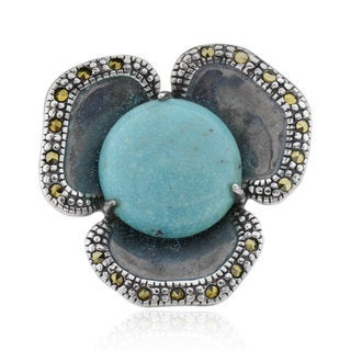 Antiqued Sterling Silver Round Turquoise Flower Ring (China)