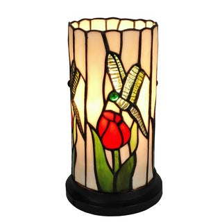 Amora Lighting Tiffany Style Tulips and Dragonflies Design Table Lamp