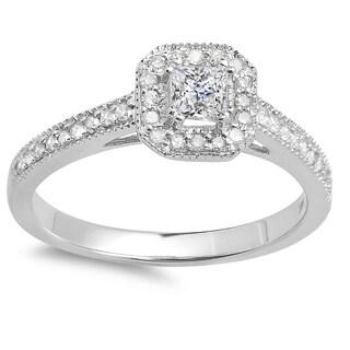 14k Gold 1/2ct TDW Princess and Round Diamond Halo Engagement Ring (I-J, I1-I2)