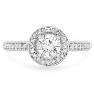 14k White Gold 1ct TDW Round-cut Diamond Vintage Halo Bridal Ring (H-I, I1-I2)